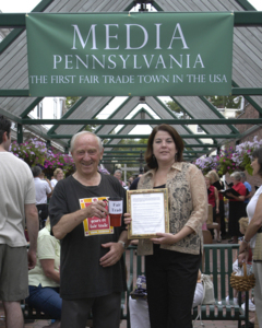 Hal Taussig and Media Borough Councilperson Monica Simpson at the ceremony declaring Media the First Fair Trade Town in the US