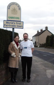 "Media's Stephanie Gaboriault in Garstang, England, with Bruce Crowther, the ""father of Fair Trade towns"""